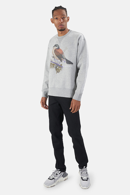 President's Bird Print Embroidery Crew - Grey