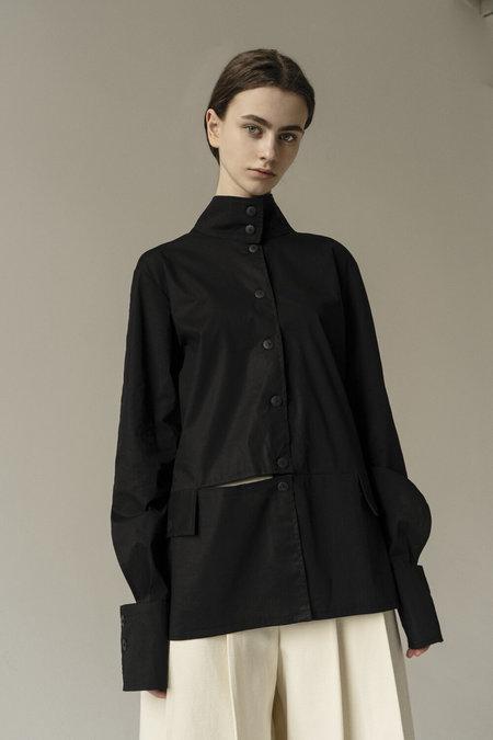 K M by L A N G E Deconstructed Shirt - Black