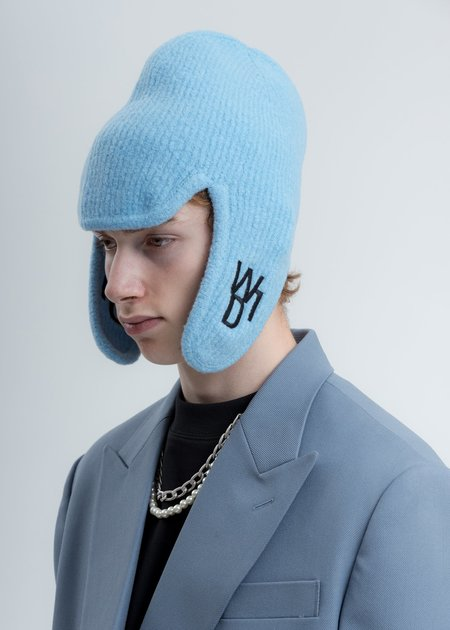 we11done Felted Knit Earflap Hat - Blue