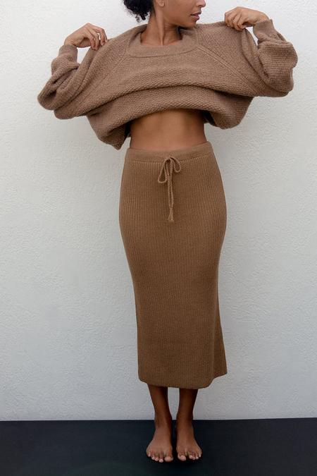 Wol Hide Rib Skirt - Fawn