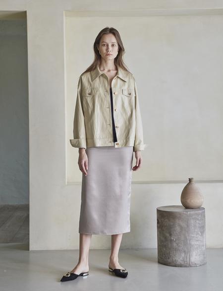 Maison De Ines Satin Pencil Skirt - Light Gray