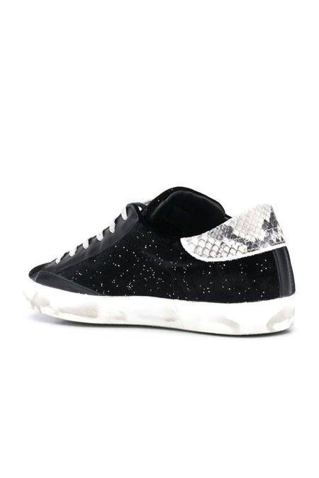 Philippe Model Velour Glitter Sneaker - Noir