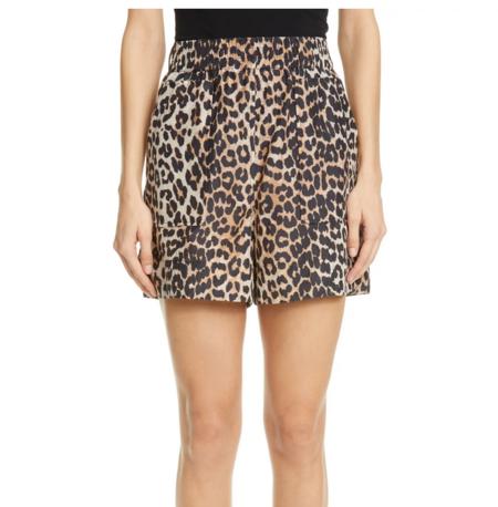 Ganni Cotton Silk Short - Leopard