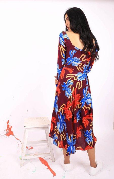 Advait Floral Scribble Cowl Midi Dress
