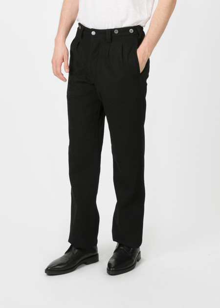 Nigel Cabourn Pleated Wool Chino - BLACK