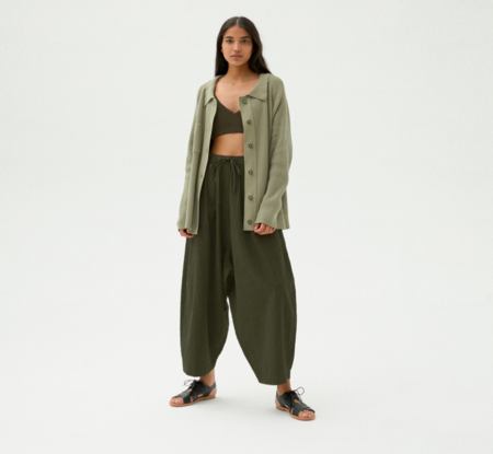 Monica Cordera Ramie maxi Pants - Hunter Green