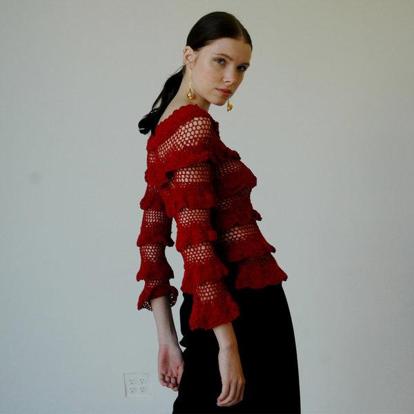 Nikki Chasin Lia Crochet Ruffle Top - Garnet