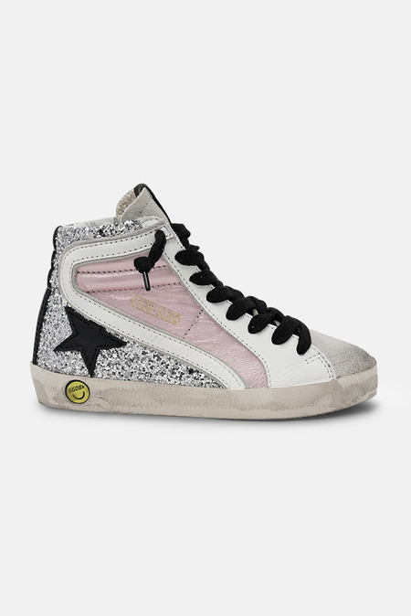 Kids Golden Goose Slide Sneaker Shoes - Salmon Pink/Black Star/Silver Glitter