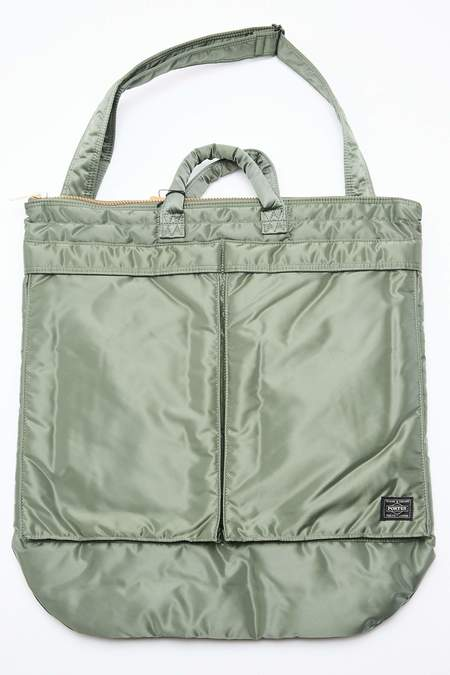 Porter Yoshida TANKER 2-Way Helmet Bag - Sage Green
