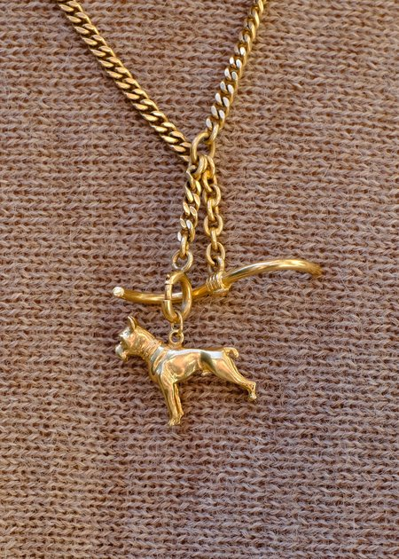 Vintage Samantha Small Knight Boxer Dog Pendant - 9c gold