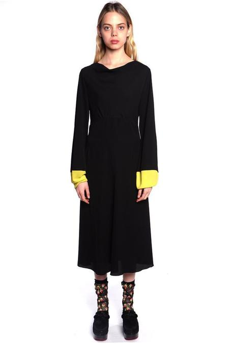 Anna Sui Pebble Georgette Colorblock Dress - Black