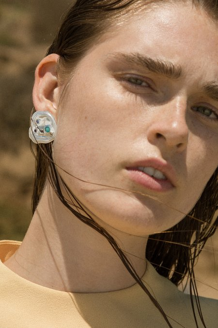 Leigh Miller Jewelry Lava Studs - Brass