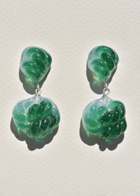 Leigh Miller Emerald and Opal Glass Rope Earrings - sterling silver