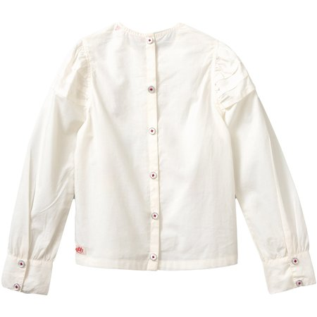 kids oilily boost embroidered blouse - off white