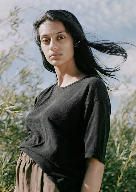 Ozma Silk Noil Jersey Oversize Tee - Black