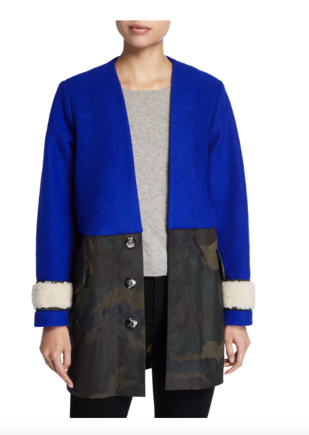 Harvey Faircloth Ragian Surplus Coat - cobalt/camo