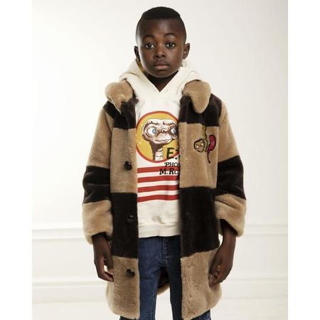 KIDS mini rodini E.T. striped faux fur coat