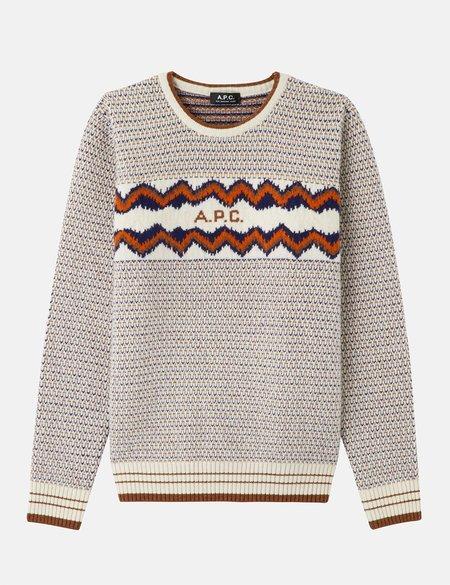 A.P.C. Ben Lambswool Jacquard Sweater - Ecru