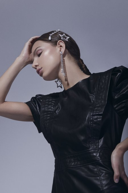 Joomi Lim Asymmetrical Crystal Star Earrings - Brass/Swarovski/Rhodium