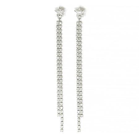 Joomi Lim Crystal Star & Crystal Chain Fringe Earrings