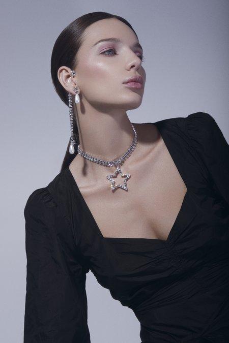 Joomi Lim Crystal Star Ear Cuff w/ Crystal Chains & Pearl