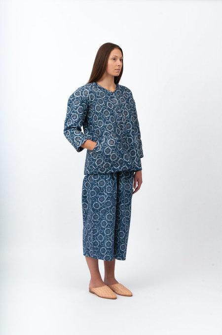 ALOJA Bunon Embroidered Quilting Pants - Navy Print