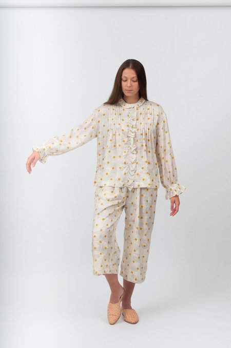ALOJA BUNON Tuck Pants - Cream/Yellow