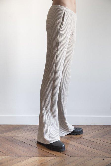 LUDOVIC DE SAINT SERNIN Merino Knit Ribbed Flare D Pants - Beige