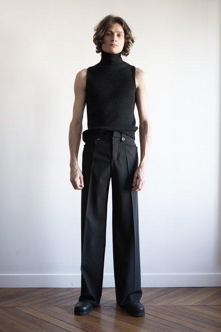 LUDOVIC DE SAINT SERNIN Merino Knit Sleeveless Turtle Neck - Black