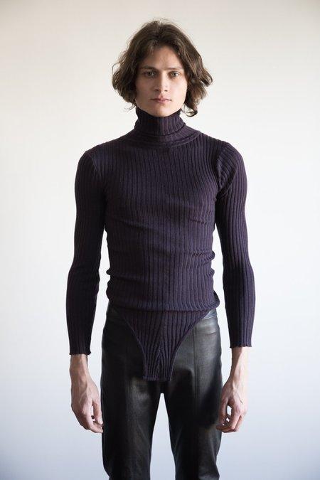 LUDOVIC DE SAINT SERNIN Merino Knit body Suit Turtleneck - Dark Purple