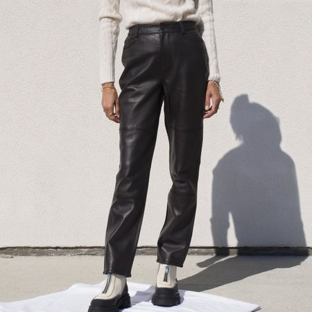Ganni High Waisted Leather Pants