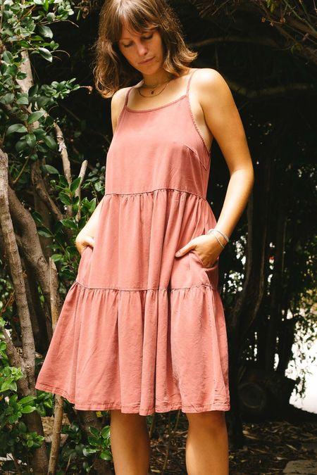 Wishlist Tiered Tencel Mini Dress - brick