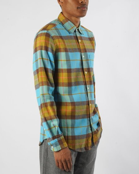 Portuguese Flannel Friendly Check Shirt - Blue/Mustard Plaid