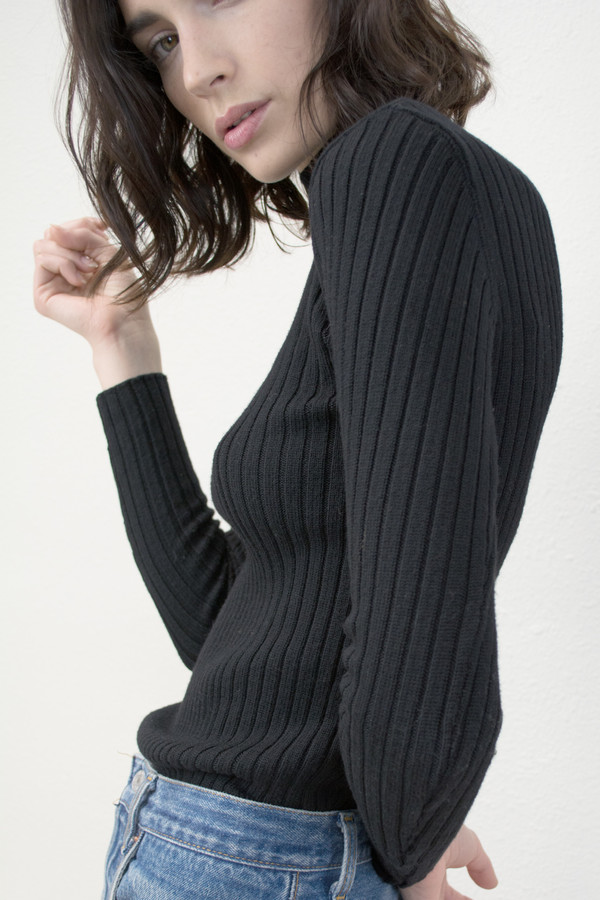 Micaela Greg Black Variegated Rib Turtleneck