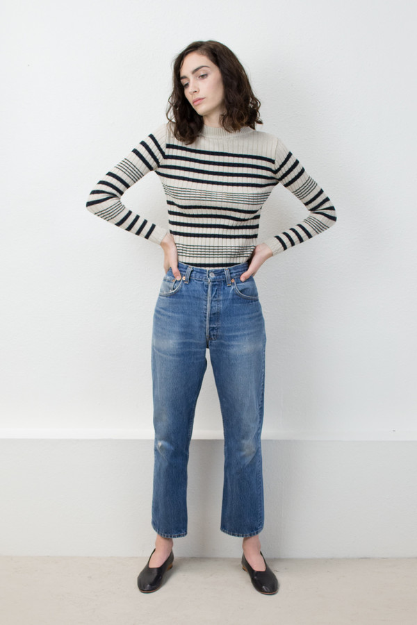 Micaela Greg Black/Cream Rib Striped Sweater
