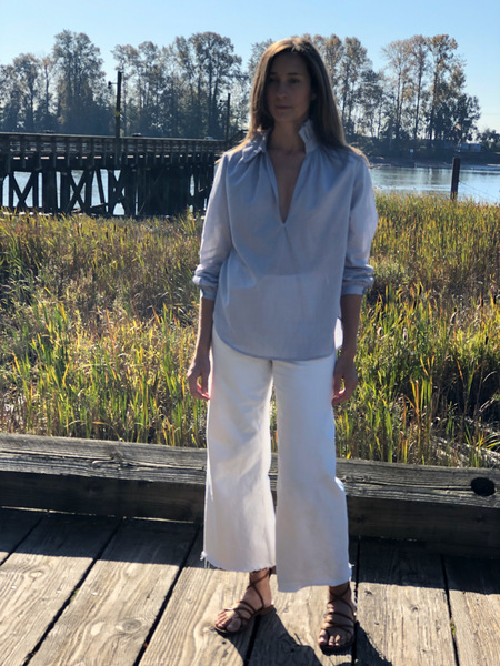 Pley Faye Ruffle Collar Shirt - Blue/White Micro Stripe