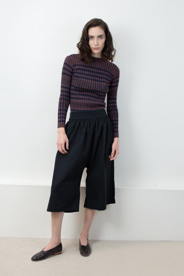Micaela Greg Navy/Speckle Rust Rib Striped Sweater