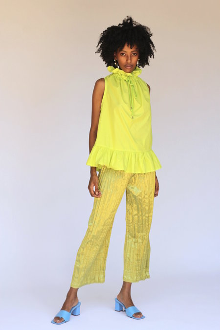 Desiree Klein Satin Crinkle Pants - Lime
