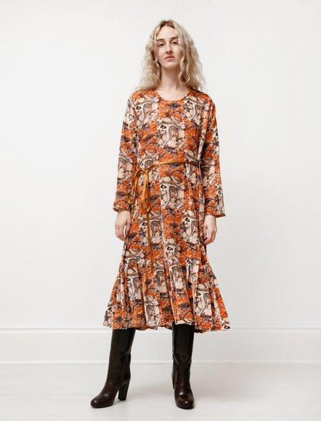 Needles U Neck Dress in Velvet - Orange Marble