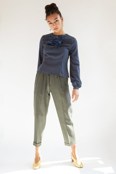 Hazel Brown Crepe Blouse - Navy