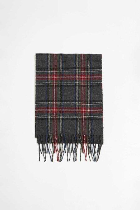 Universal Works Tartan Wool Scarf - Charcoal