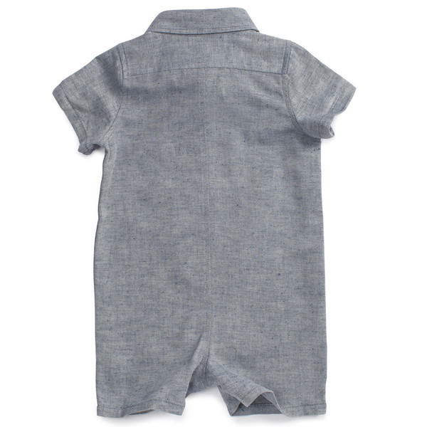 Noch Mini Shirt Romper Navy Twill