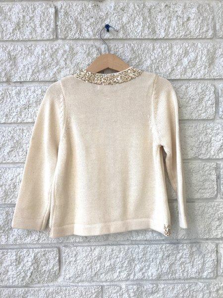 Kids Pink Chicken Sequins Sweater - Cream With Sparkle Trim