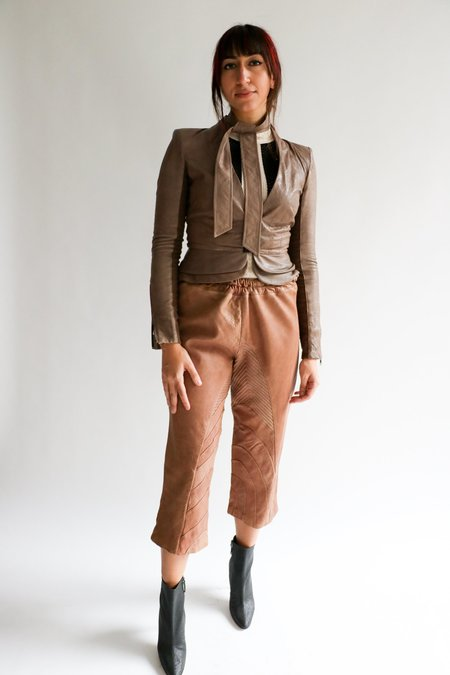 [Pre-loved] Marni Cropped Leather Pant - Tan
