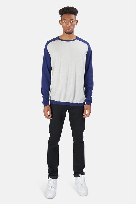 Blue&Cream Cashmere Raglan Sweater - Quicksilver/Moon