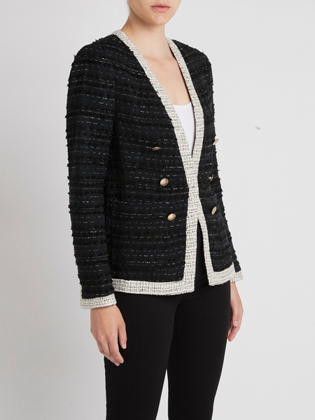 Rebecca Taylor Tailored Fringe Tweed Button Jacket - Navy Combo