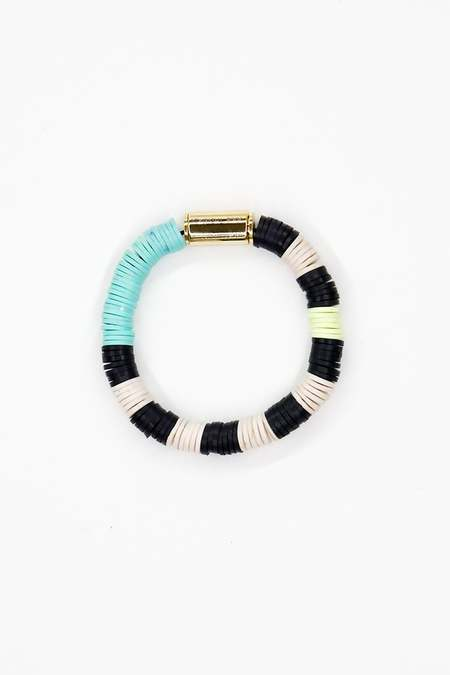JULIE THÉVENOT Chunky Isiand stripped bracelet - Blue/Cream/Black