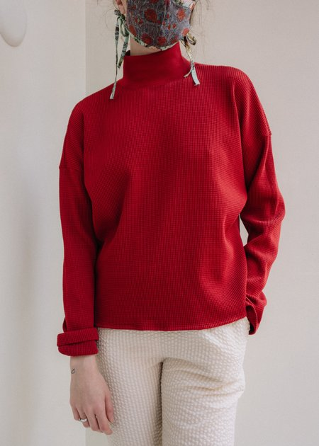 Back Beat Co Waffle Thermal Top - Merlot