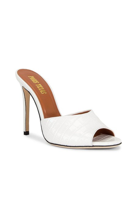 Paris Texas Moc Croc Stiletto Mules - white