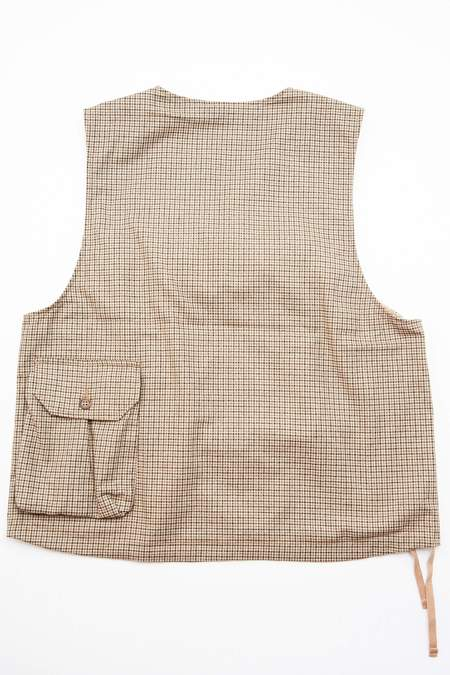 Engineered Garments Cover Vest in Wool Poly Gunclub Check - Brown